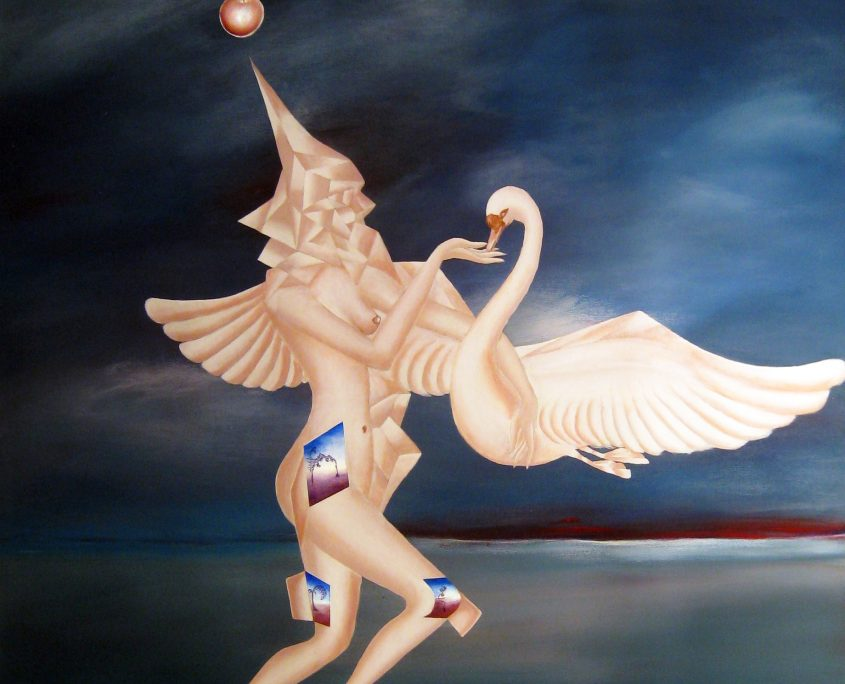 Beauty and Her Swan-Allegory of Leda and Zeus, Victoria Yin, age 11, acrylic on canvas 52 x 62