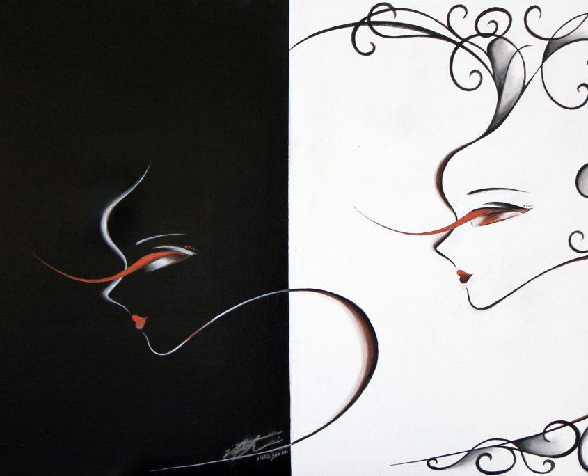 Black . White, Victoria Yin, Feb. 2012 age 14, acrylic on canvas 24 x 30