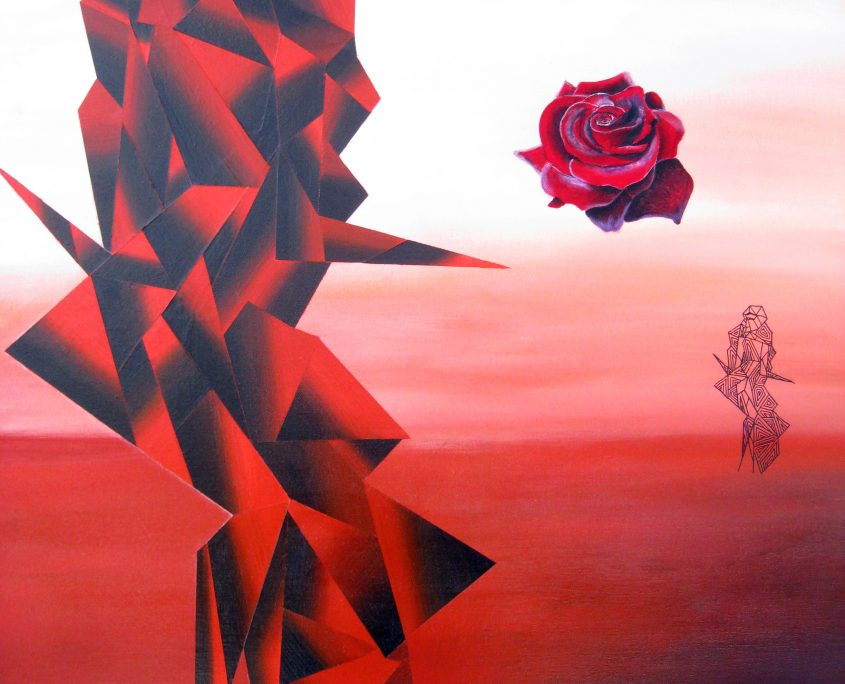 Dawn of a New Civilization III - rising of pink rose, Victoria Yin, age 10, acrylic on canvas 30 x 40