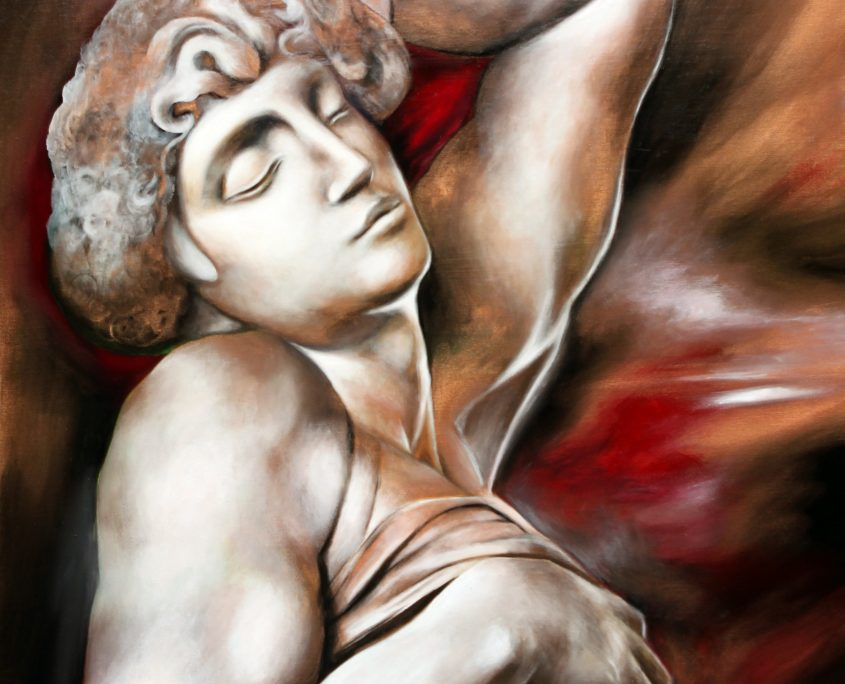 Dying Slave (after Michelangelo's Dying Slave ), Victoria Yin, age 14 August 2012, acrylic on canvas 30 x 40