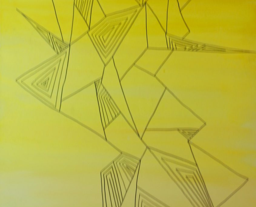 Line. Shape. Human in yellow, Victoria Yin, age 10, Marker and painter on canvas 24 x 48