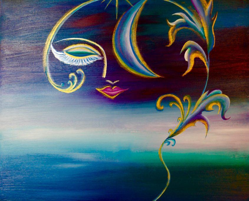 Impression-Moon, Victoria Yin, age 11, acrylic on canvas 30x40