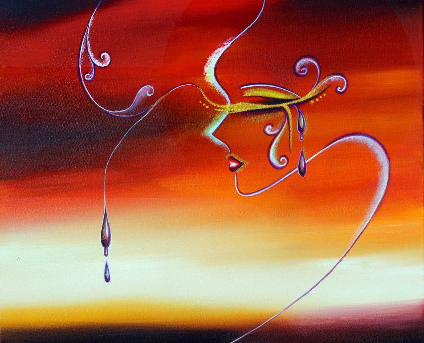 Tear.Love, Victoria Yin, age 13, acrylic on canvas 30 x 40