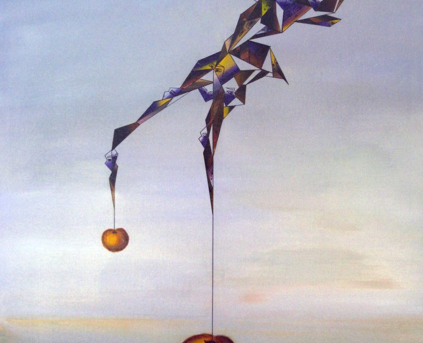 Making of Gravity I-The Golden Apple, Victoria Yin, age 11, acrylic on canvas 30 x 40