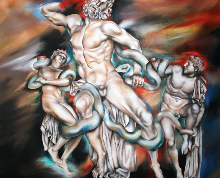 (NO SIG) Laocoon, Victoria Yin, Aug 2012 age 14, acrylic on canvas 84 x 95