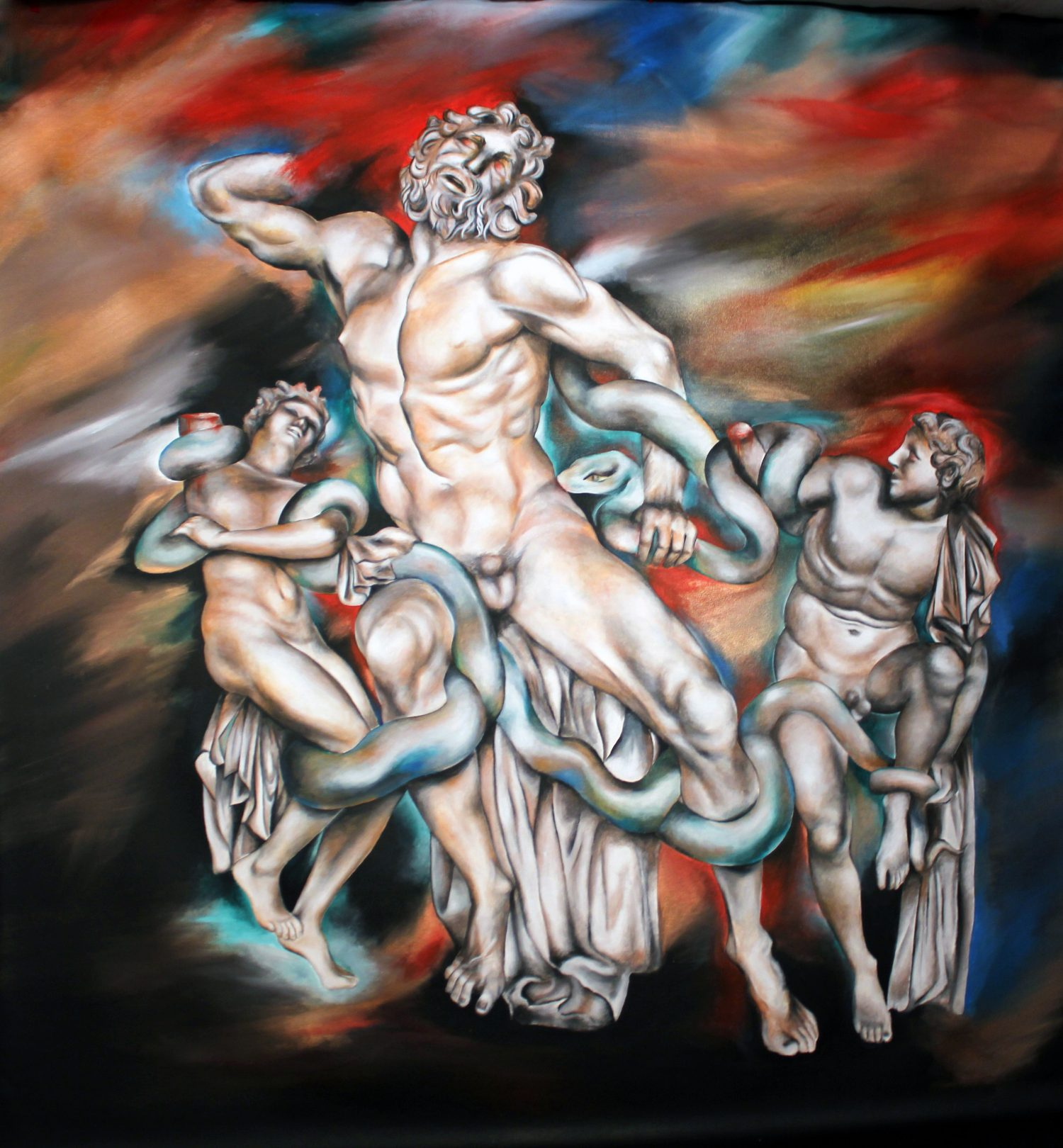 Laocoon, Victoria YIn, Aug 2012 age 14, acrylic on canvas, 84 x 95