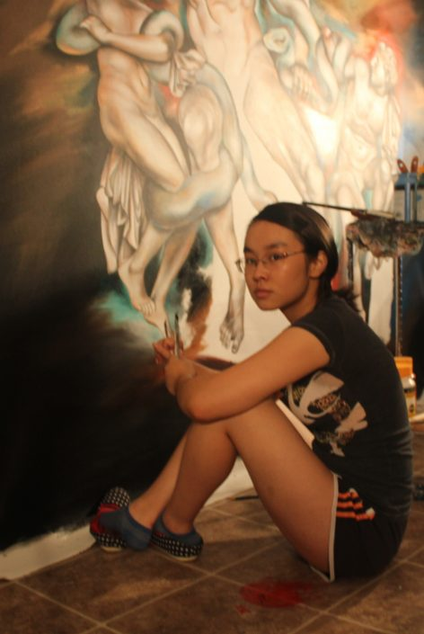 Victoria Yin painting Laocoon age 14