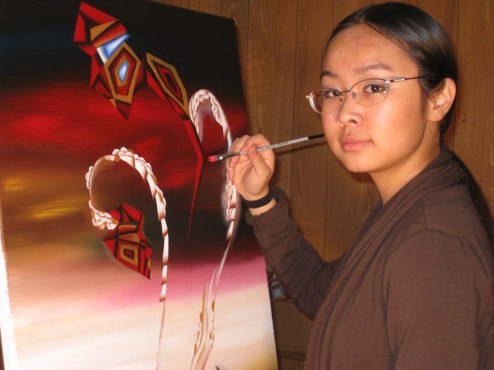 Victoria Yin in studio age 11