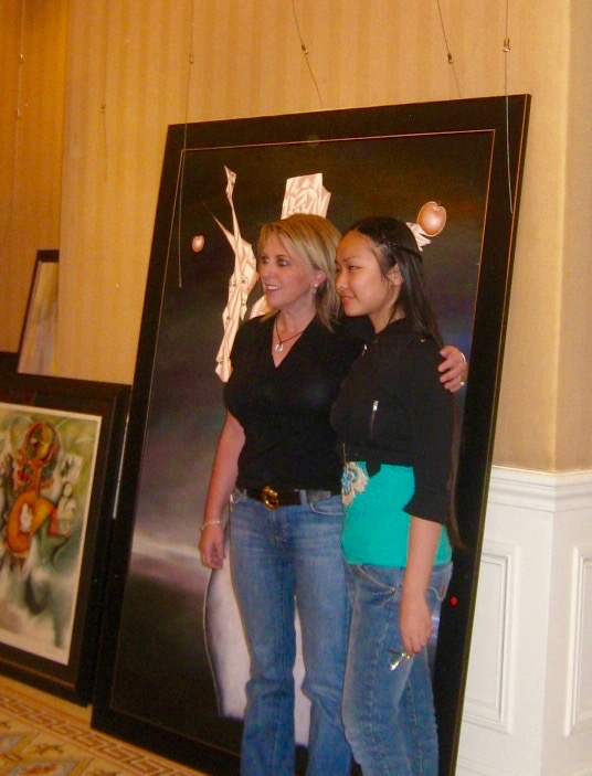 Victoria Yin with Mrs. Hopcroft, Las Vegas 2009 age 11