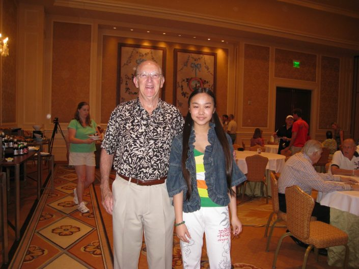 Victoria Yin with collector Mr.Roger Stebbing, Director of Atrion Corp, Lake Las Vegas May 2009 age 11